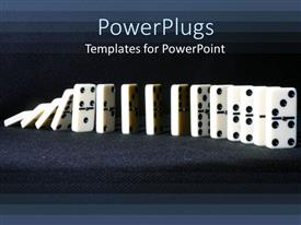 Amazing slide set consisting of row of falling dominoes on gray background