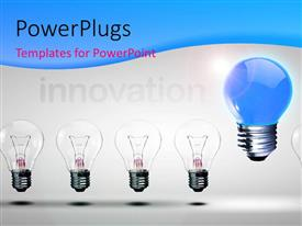 Slides consisting of distinct blue light bulb stands out from others depicting innovation