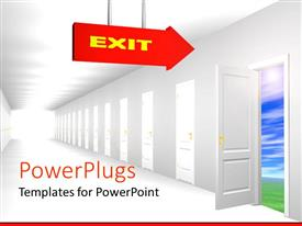 Elegant presentation theme enhanced with row of white closed doors with one opened door and red arrow sign with yellow exit pointing to the open door
