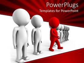Presentation theme enhanced with row of white colored animated human figures with a red one in the middle
