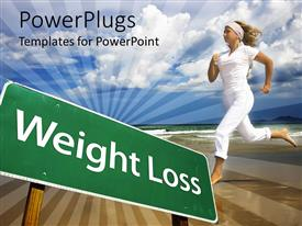 Elegant presentation theme enhanced with runner in white behind green weight loss street sign