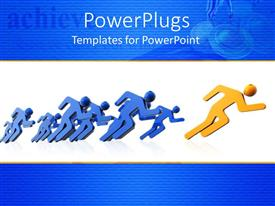 Beautiful PPT theme with running yellow figure leads group of blue figures in race