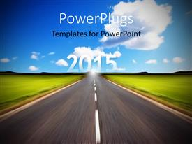 PPT theme having rural road stretching out to 2015 with motion blur under a big expanse blue sky