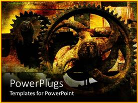 Theme enhanced with rusty gears with vintage cracked background, industrial, manufacturing