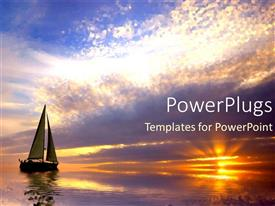 PPT layouts featuring sailing at sunset purple and orange calm waters ocean sea travel