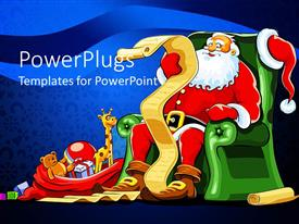 PPT layouts having santa Claus sitting in green armchair with red sack of gifts