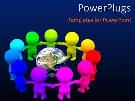 Colorful presentation design having save earth concept using different color humanoids holding hands around earth