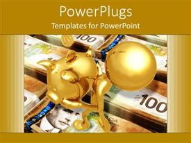 PPT theme with savings metaphor with gold person carrying piggy bank on stacks of currency
