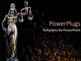 Slide deck with scale of justice law and order statue legal systems judicial system