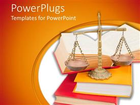 PPT theme with scales of justice atop legal books over white and orange background
