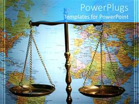 Beautiful PPT theme with scales of justice in front of world map