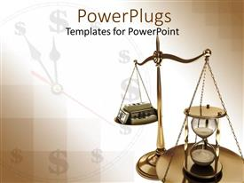 Beautiful PPT theme with scales of justice with hourglass opposite stack of case against clock background with dollar signs