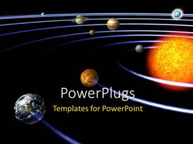Slide deck enhanced with schematic depiction of the solar system with all the planets