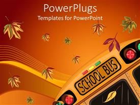 Colorful PPT theme having school bus and falling autumn leaves on gradient orange and red background