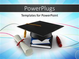 Presentation design enhanced with school graduation cap with degree placed over an elegant blue background