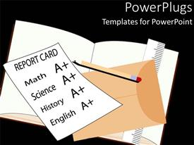 Slide deck consisting of school report card with A+ grades on math, science, history and English, with envelope, pencil, ruler and opened notebook on black background