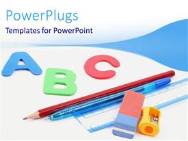 PPT theme enhanced with school study materials with colored alphabets on white and blue background