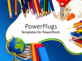 Slides consisting of school supplies with pencils, globe, books, glue, and scissors on blue and white background