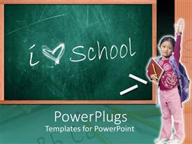 Beautiful slide deck with school theme with chalkboard and words I heart school two white chalks and girl pupil with raised hand holding book and pencil and wearing school bag