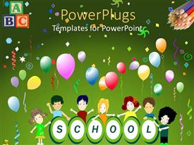 Beautiful PPT theme with school theme with happy children around word school and colorful balloons and colored pencils