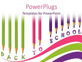 Presentation theme consisting of school time with colored pencils and text back to school