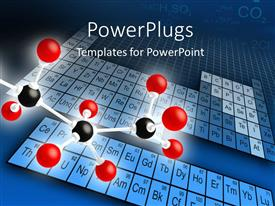 PPT theme having science concepts of molecular structure with element periodic table