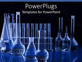 Elegant theme enhanced with science research laboratory with test tubes, vials, flasks in blue with black background