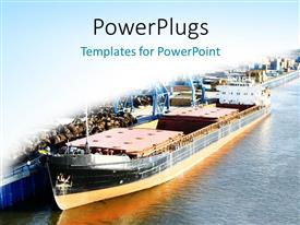 Presentation theme enhanced with sea ship at the port on a white and blue background