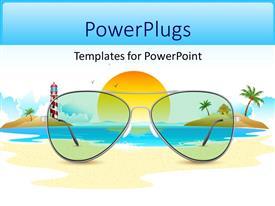 Elegant presentation theme enhanced with sea view through sun glasses placed on beach sand