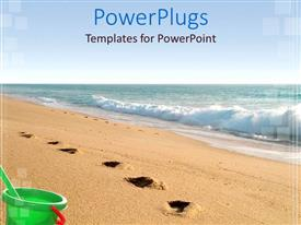 Audience pleasing PPT theme featuring sea water and sandy beach with footprints and green bucket