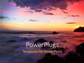 PPT theme featuring a sea wih a number of rocks and sunset in background