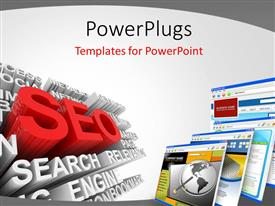 PPT theme having search engine optimization with 3D SEO symbol and computer screens