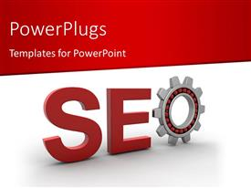 Amazing slide set consisting of search Engine Optimization depiction with cog wheel as letter O