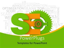 PPT layouts featuring search engine optimization symbol with various keywords in the background