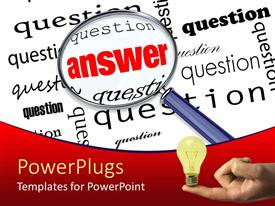 PPT layouts consisting of search glasslooking for answer amidst several questions