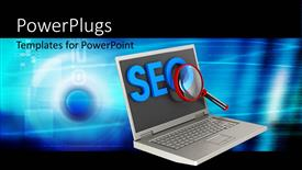 Colorful PPT layouts having search Engine Optimization depiction with magnifying glass on laptop
