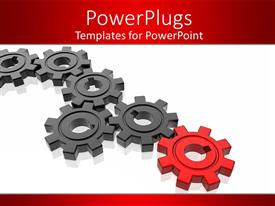 Colorful PPT theme having series of black gears terminating with red gear