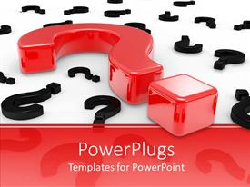 Elegant presentation theme enhanced with a series of question signs with red and black colors