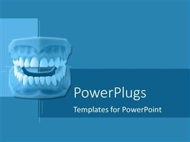 5000 dental powerpoint templates w dental themed backgrounds ppt theme consisting of set of dentures on blue geometric background toneelgroepblik Choice Image