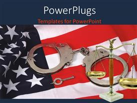PPT theme enhanced with a set of hand cuffs with a justice scale on an American flag