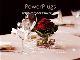 Presentation enhanced with a set table of plates and cups with a flower