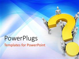 Elegant presentation theme enhanced with seven 3d human characters holding up a yellow question mark