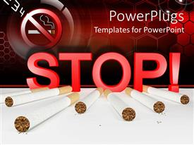Presentation theme enhanced with seven cigarettes and 3D red stop sign with no smoking sign in the top left corner on red cells background