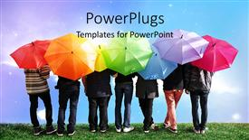 Beautiful PPT layouts with a lot of people with colorful umbrellas