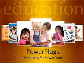 Audience pleasing PPT layouts featuring seven layered tiles of kids having fun and learning