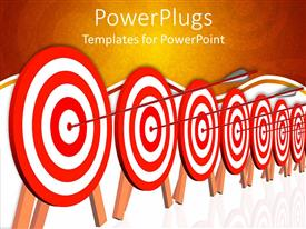 Presentation with several dartboard targets with arrow hitting the mark