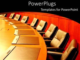 Beautiful presentation with several empty chairs situated around conference table with closed envelopes at each setting