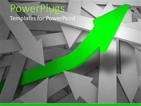 PPT theme consisting of several gray arrows one on another and green arrow rising from between gray arrows