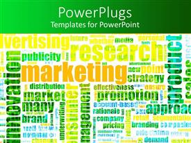 Audience pleasing PPT theme featuring several marketing terminologies written colorfully on white background