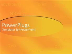 Elegant PPT theme enhanced with shades of orange and yellow with listing of media equipments